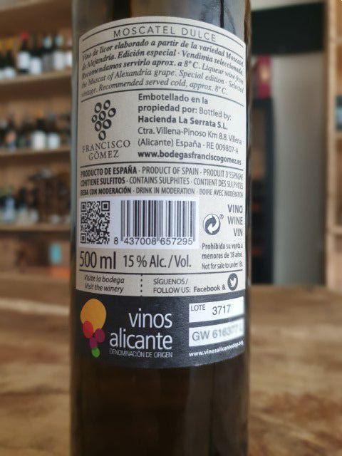 fransico gomez moscatel de alejandra vino licor de serrata
